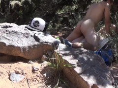 Fucking blondy girlfriend in the mountains