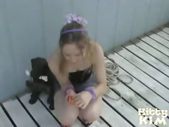 Gorgeous blondie teen Kitty Kim posing for you outside