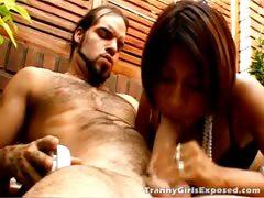 Tempting tranny whore Mina riding a big dick