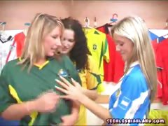 Teenie lesbians undressing in the locker room