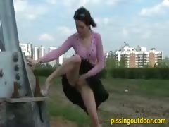Piss on a road