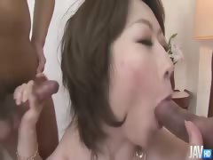 Classy Rio Kagawa on the couch her sweet tits squeezed by