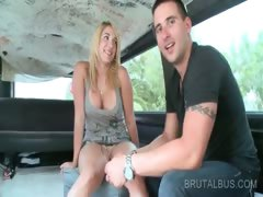 Blonde amateur hottie dares to fuck in the sex bus