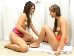 Lesbian teens in the shower