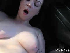 Shaved cunt amateur fucked and creampie in fake taxi