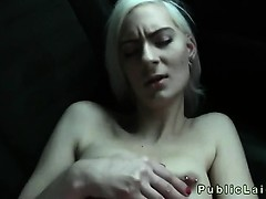 Blonde student deep throats huge dick on backseat in public