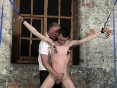 Naked guys With his gentle nut sack tugged and his rod drain