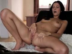 Brunette hottie Lauren enjoys a slow massage of her horny
